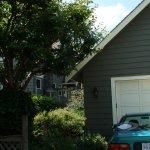 Custom garage added to look like home